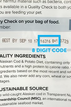 Quality Control Code against toxins dog food & cat food